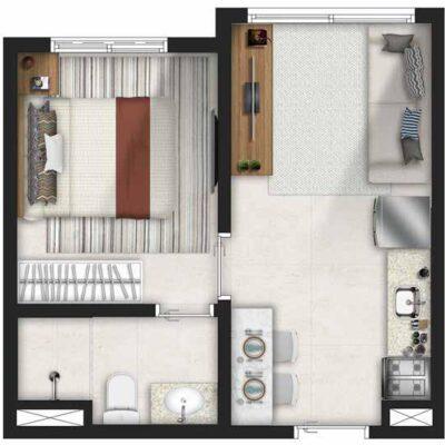 Forma Butantã - Planta 1 dormitório