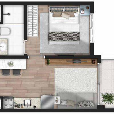 Forma Butantã - Planta 1 dormitório terraço