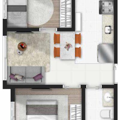 Forma Butantã - Planta 2 dormitórios