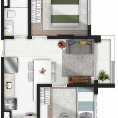 Forma Butantã - Planta 2 dormitórios terraço