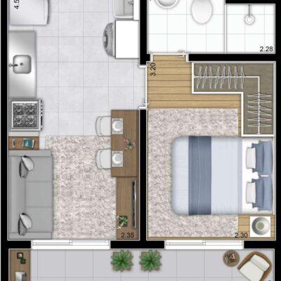 Galeria 635 - Planta 28m² 1 dormitório