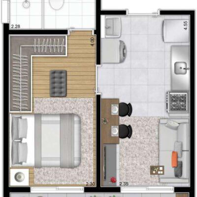 Galeria 635 - Planta 31m² 1 dormitório
