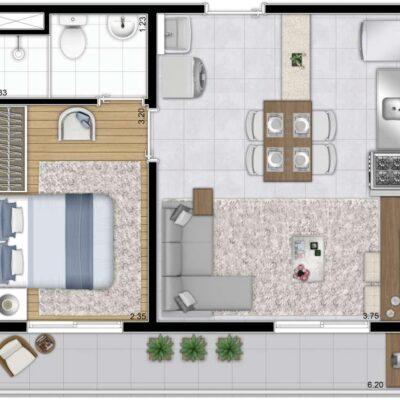 Galeria 635 - Planta 37m² 1 dormitório