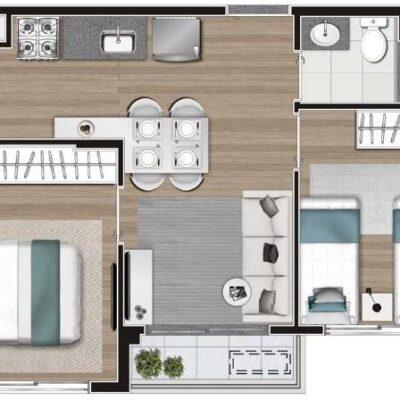 Memory Anália Franco - Planta 38m² 2 dormitórios