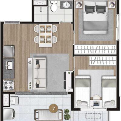Memory Anália Franco - Planta 45m² 2 dormitórios
