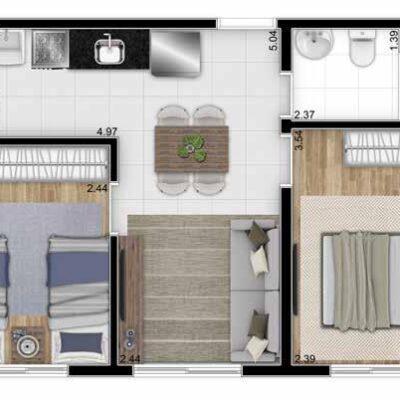 Parque Imperial Residencial Clube - Planta 40m² 2 dormitórios
