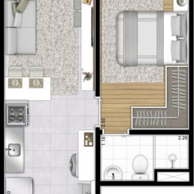 Plano Bairro Limão - Planta 27m² 1 dormitório