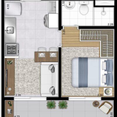 Plano Bairro Limão - Planta 28m² 1 dormitório