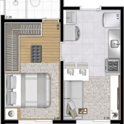 Plano Bairro Limão - Planta 31m² 1 dormitório