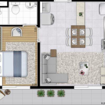 Plano Bairro Limão - Planta 37m² 1 dormitório