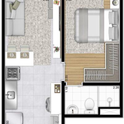 Plano Estação Vila Sônia - Planta 27m² 1 dormitório