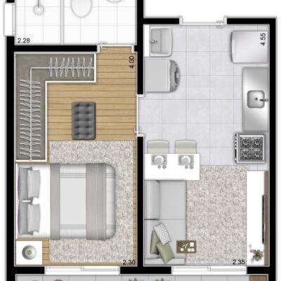 Plano Estação Vila Sônia - Planta 31m² 1 dormitório