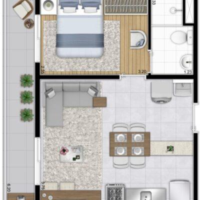 Plano Estação Vila Sônia - Planta 37m² 1 dormitório