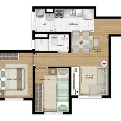 Plano Jacú Pêssego - Planta 41m² 2 dormitórios