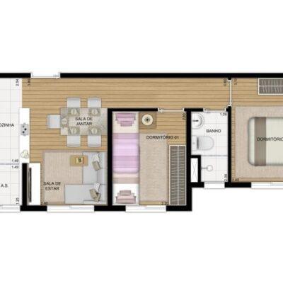 Plano Jacú Pêssego - Planta 40m² 2 dormitórios