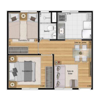 Plano José Bonifácio - Planta 37m² 2 dormitórios