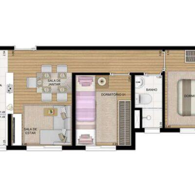 Plano Penha - Planta 40m² 2 dormitórios