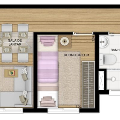 Plano Raposo - Planta 40m² 2 dormitórios