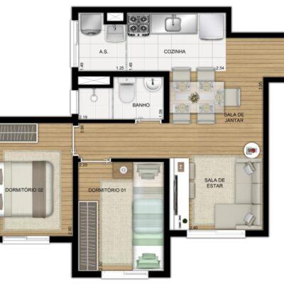 Plano Raposo - Planta 41m² 2 dormitórios