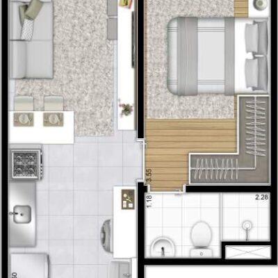 Plano Reserva Casa Verde - Planta 27m² 1 dormitório