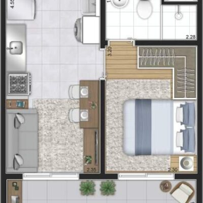 Plano Reserva Casa Verde - Planta 28m² 1 dormitório