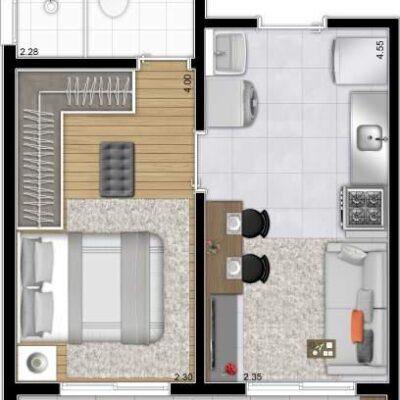Plano Reserva Casa Verde - Planta 31m² 1 dormitório