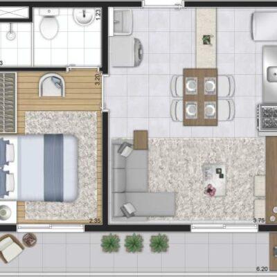 Plano Reserva Casa Verde - Planta 37m² 1 dormitório