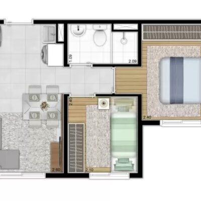 Plano Sacomã - Planta 32m² 2 dormitórios