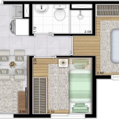 Plano Vila Carmosina - Planta 32m² 2 dormitórios