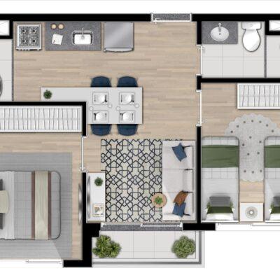 Reserva Mundi - Planta 38m² 2 dormitórios