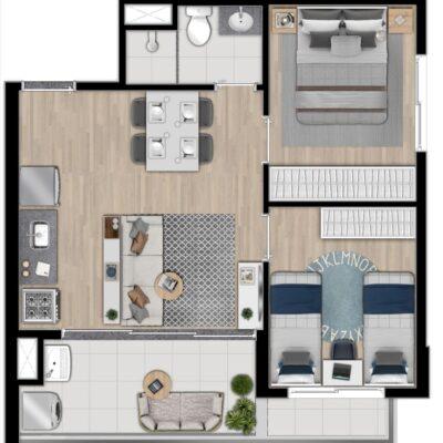 Reserva Mundi - Planta 45m² 2 dormitórios