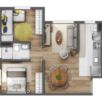 Reserva Raposo - Planta 45m² 2 dormitórios