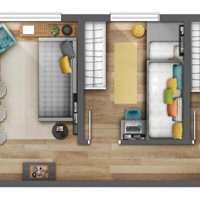 Reserva Raposo - Planta 45m² 2 dormitórios opção