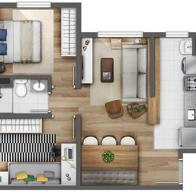 Reserva Raposo - Planta 46m² 2 dormitórios