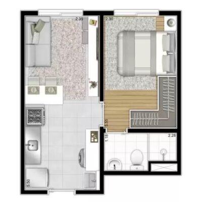 Reserva Vila Ema - Planta 27m² 1 dormitório