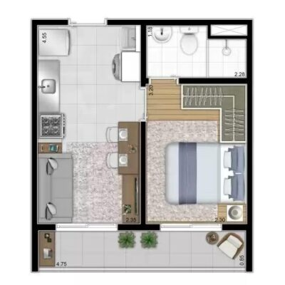 Reserva Vila Ema - Planta 28m² 1 dormitório