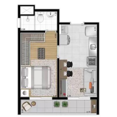 Reserva Vila Ema - Planta 31m² 1 dormitório