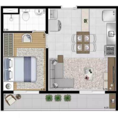 Reserva Vila Ema - Planta 37m² 1 dormitório