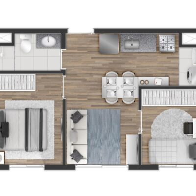 Tom Penha - Planta 33m² 2 dormitórios