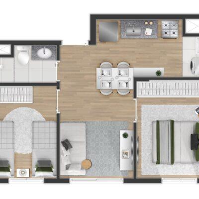 Tom Penha - Planta 37m² 2 dormitórios