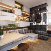 Casa Fit Brás - Perspectiva living 26m² studio