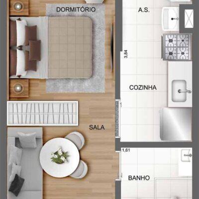 Casa Fit Brás - Planta 26m² studio