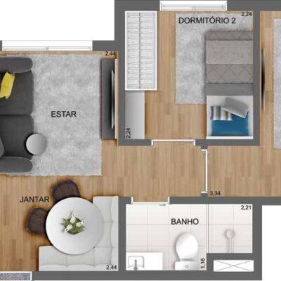 Casa Fit Brás - Planta 38m² 2 dormitórios