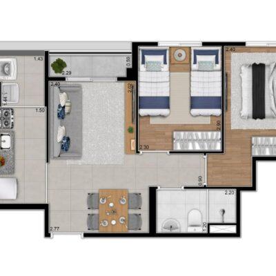 Fábula Socorro - Planta 45m² - 2 dormitórios
