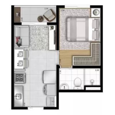 Vista Parque - Planta 26m² 1 dormitório