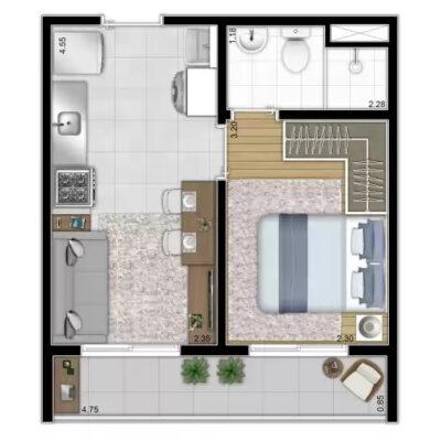 Vista Parque - Área de lazer: Planta 28m² 1 dormitório
