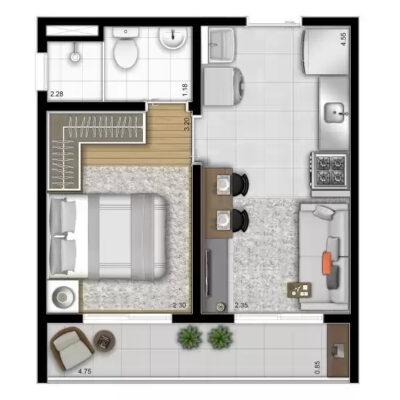 Vista Parque - Área de lazer: Planta 29m² 1 dormitório