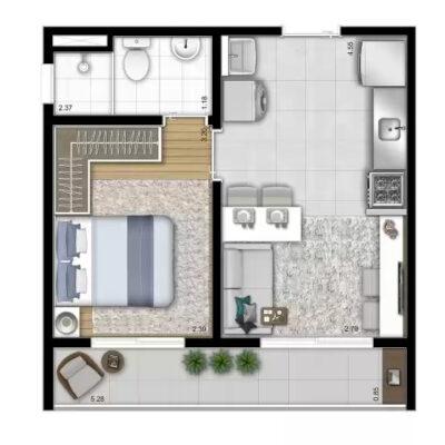 Vista Parque - Área de lazer: Planta 32m² 1 dormitório