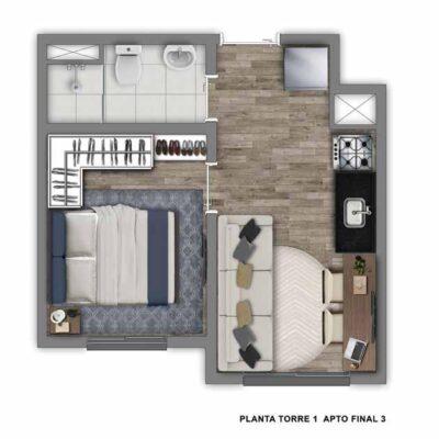 Vivaz Jardim Prudência - Planta 24m² - 2 dormitórios