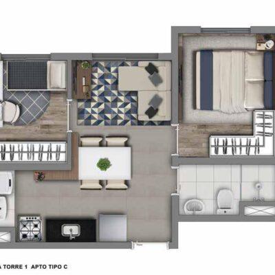 Vivaz Jardim Prudência - Planta 33m² - 2 dormitórios